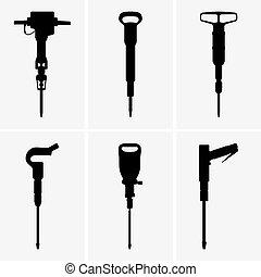 Pneumatic drills - Set of six Pneumatic drills