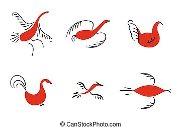 Set of six red birds. National northen paintings. Folk...