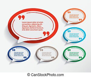 Set of six speech information bubbles for design.