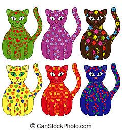 Set of six stylized cats