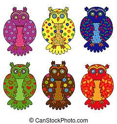 Set of six stylized owls