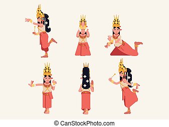 Set of six Traditional Khmer Apsara dance posture. Woman in gold, white and pink outfit and jewellery. Cute modern cartoon vector flat-design style.