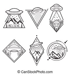 Set of six UFO emblems, labels, badges or logos. Mystical symbol paranormal phenomena, first contact, invasion of aliens