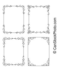Set of six unusual calligraphic frames in mono line style with rounded corners and crowns.
