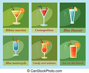 Set of six vector cocktails. Flat style summer cocktails
