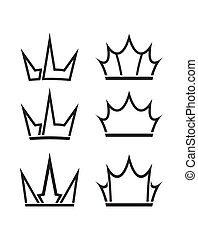 Set of six vector crowns icons for your design.