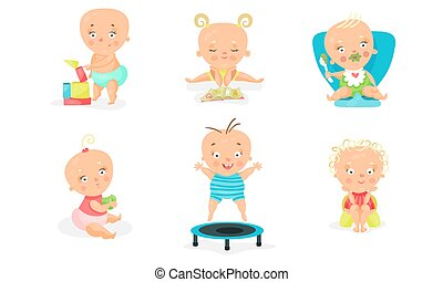 Set Of Six Vector Illustrations With Baby Children Different Occupations