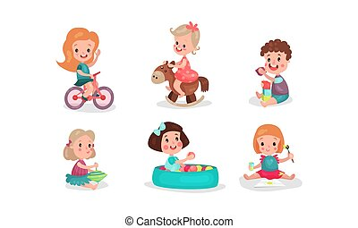 Set Of Six Vector Illustrations With Little Girls And Boys Playing Having Fan With Various Toys