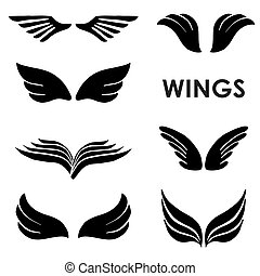 Set of Six Vector Silhouettes Wings