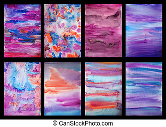 Set of six watercolor hand painted art backgrounds