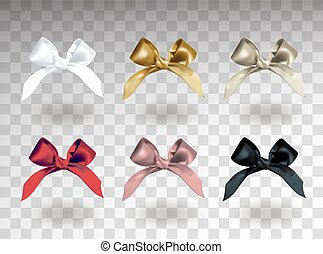 Set of six white, golden, silver, red, pink and black elegant bows with knots. Object isolated on transparent background with shadow. Realistic vector illustration.