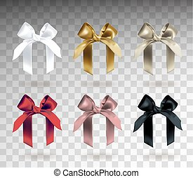 Set of six white, golden, silver, red, pink and black elegant bows with knots. Object isolated on transparent background with gradient. Realistic vector illustration.