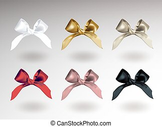 Set of six white, golden, silver, red, pink and black elegant bows with knots. Object isolated on white background with shadow. Realistic vector illustration.