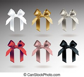 Set of six white, golden, silver, red, pink and black elegant bows with knots. Object isolated on background with gradient. Realistic vector illustration.