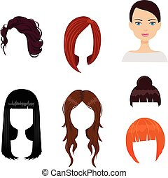 Set of six woman haircuts