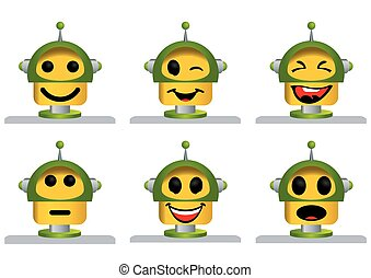 Set of six yellow and green robot faces, happy, wink, laughing, thoughtful, enthusiastic and surprised  - Vector image