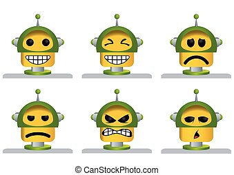 Set of six yellow and green robot faces, laughing, sad, angry and tired - Vector image