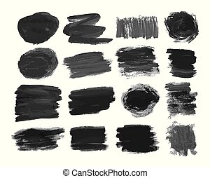 Set of sixteen black hand drawn ink stains
