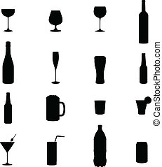 Set Of Sixteen Drink Black Silhouette Vector Illustrations