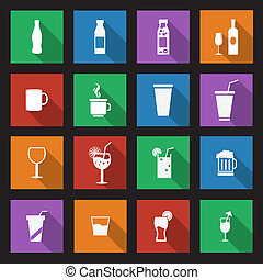 set of sixteen drink icons