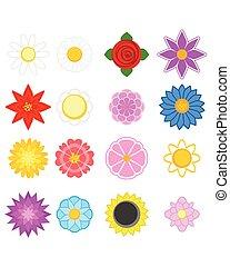 Set of sixteen flowers