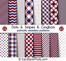 Set of Sixteen Patriotic Seamless Patterns