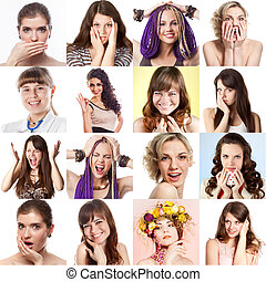 Set of sixteen people's photos