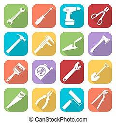 Set of sixteen tools flat style icons