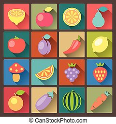 set of sixteen vegetables icons - vector set of sixteen...
