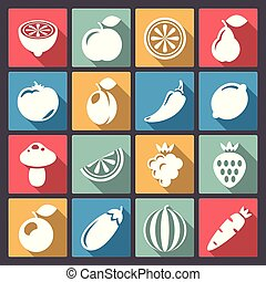 set of sixteen vegetables icons in - Vector set of sixteen...