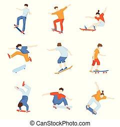 Set of skateboarders doing various tricks isolated on white background