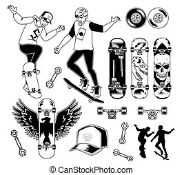 Set of skateboarding elements