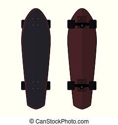Set of Skateboards flat icons on white background.