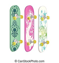 Set of skateboards with different designs and bright colors. Equipment for sport, healthy lifestyle and physical activity. Vector illustration isolated on white background.