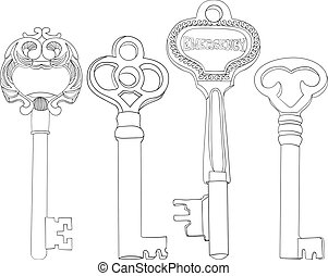 Set of Skeleton Keys Illustrations