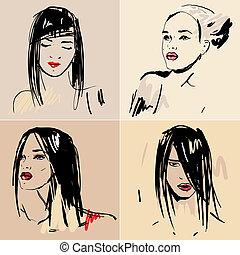 Set of sketch Beautiful girls.