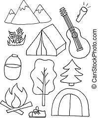 Set of sketch camping equipments