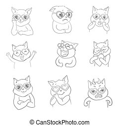 Set of sketch cartoon cats isolated on white.