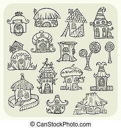 Set of sketch cartoon vector houses