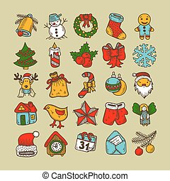 Set of sketch drawing christmas doodle icons