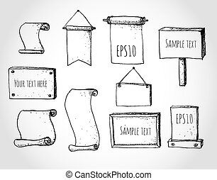 Set of sketch frames ready for your text