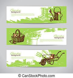 Set of sketch gardening banner templates. Hand drawn vintage...