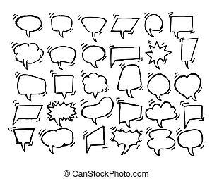 Set of Sketch Hand drawn Speech Bubbles