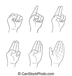 Set of Sketch Human Hand Counting Hand Sign