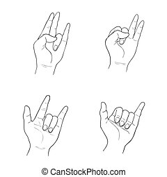 Set of Sketch Human Hand Gestures on White Background