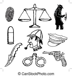detective - set of sketch illustration of detective objects