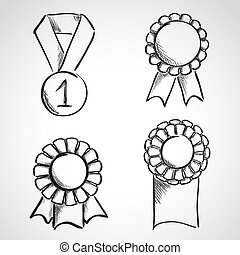Set of sketch prize ribbons