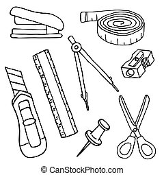 Set of sketch stationery items and school supplies.