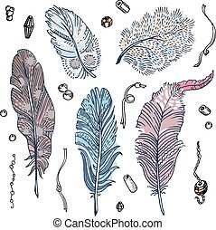 Set of sketched feathers, beads and ribbons