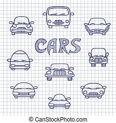 Set of sketches cars